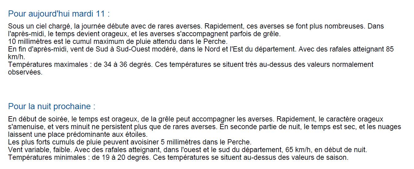 Bulletin météorologique de Météo France pour mardi 11 août 2020